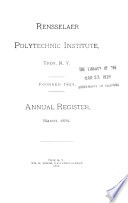 Annual Register of the Rensselaer Polytechnic Institute at the City of Troy Book