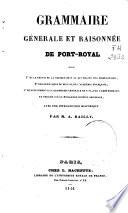 Grammaire generale et raisonnée de Port-Royal ...