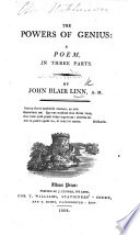 The Powers of Genius, a poem. (Illustrations of Genius from authors, ... attached to the poem in an appendix.)