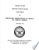 Report of the Defense Science Board Task Force on Military Operations in Built-Up Areas (MOBA)