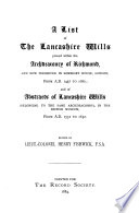A List of the Lancashire Wills Proved Within the Archdeaconry of Richmond Book