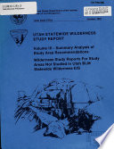 Utah Statewide Wilderness Study Report Book