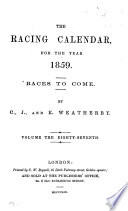 The Racing Calendar For The Year 1859
