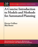 A Concise Introduction to Models and Methods for Automated Planning Pdf/ePub eBook