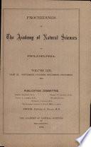 Proceedings Of The Academy Of Natural Sciences Vol Liii Part Iii Sept Oct Nov Dec 1901