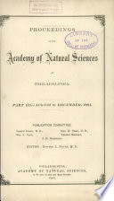 Proceedings Of The Academy Of Natural Sciences Part Iii Aug Dec 1881
