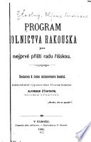 Program rolnictva Rakouska pro nejprvé přišti radu řišskou Sestaven k tomu ustanovenou komisi
