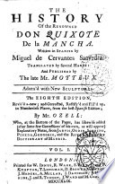 The History of the Renowned Don Quixote de la Mancha  Written in Spanish by Miguel de Cervantes Saavedra  Translated by Several Hands  and Published by the Late Mr  Motteux  Adorn d with New Sculptures  Vol  1   4