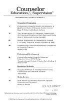 Counselor education and supervision Book