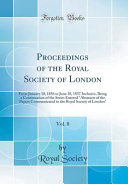 Proceedings Of The Royal Society Of London Vol 8
