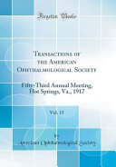 Transactions Of The American Ophthalmological Society Vol 15
