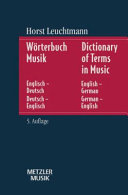 Dictionary of Terms in Music