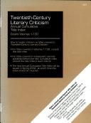 Twentieth Century Literary Criticism Annual Cumulative Title Index 2003
