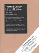 Read Online Twentieth Century Literary Criticism Annual Cumulative Title Index 2003 For Free