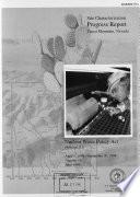 Site Characterization Progress Report Book PDF