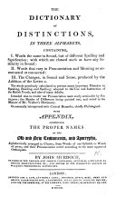 The Dictionary of Distinctions  in Three Alphabets  Containing  I  Words the Same in Sound  But of Different Spelling and Signification  II  Words that Vary in Pronunciation and Meaning as Accentuated     III  The Changes     Produced by the Addition of the Letter E     With Appendix Comprising the Proper Names of the Old and New Testaments and Apocrypha