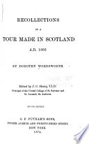 Recollections of a Tour Made in Scotland A D  1803