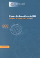 Dispute Settlement Reports 1998  Volume 5  Pages 1831 2197