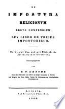 De impostura religionum breve compendium; seu, Liber de tribus impostoribus