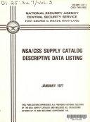 NSA CSS supply catalog descriptive data listing