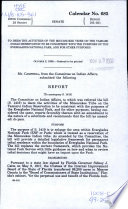 To Deem the Activities of the Miccosukee Tribe on the Tamiami Indian Reservation to be Consistent with the Purposes of the Everglades National Park  and for Other Purposes Book