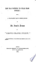 Zion has nothing to fear from Popery being a wayfaring man s observations on Mr  Irons  sermon in    Grove Chapel Pulpit     Book