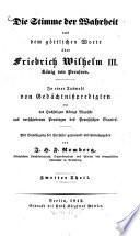 Die Stimme der Wahrheit aus dem göttlichen Worte über Friedrich Wilhelm III., König von Preussen