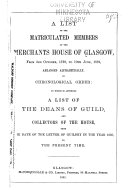 A List of the Matriculated Members of the Merchants House of Glasgow