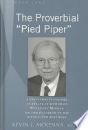 the proverbial pied piper a festschrift volume of essays in  front cover