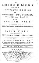 An Abridgement of the Last Quarto Edition of Ainsworth s Dictionary  English and Latin