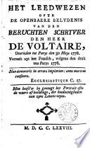 Het Leedwezen Ofte De Openbaere Belydenis Van Voltaire