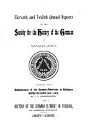 Annual Report of the Society for the History of the Germans in Maryland