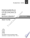 FUNDAMENTALS OF ECONOMICS & MANAGEMENT (Paper 1 of ICWAI Foundation) Syllabus 2012