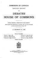 Official Report of Debates  House of Commons Book