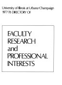 Directory of Faculty Research and Professional Interests Book