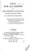 Essai sur la poésie et les poètes français aux XIIe, XIIIe et XIVe siècles