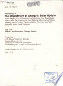 Proceedings Of The Department Of Energy S Solar Update