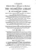 Catalogue of the Mathematical, Historical, Bibliographical and Miscellaneous Portion of the Celebrated Library of M. Guglielmo Libri