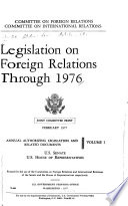 Legislation on Foreign Relations Through 1976 Book