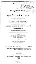 A Dictionary of Quotations in Most Frequent Use