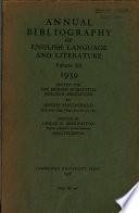 Annual Bibliography Of English Language Literature Volume Xx