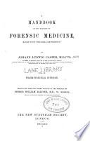 A Handbook of the practice of forensic medicine v  2 1862