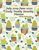 July 2019 June 2020 Daily Weekly Monthly Planner Patch Cactus 8 5x11