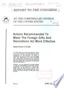 Actions Recommended to Make the Foreign Gifts and Decorations Act More Effective