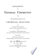 Experiments in General Chemistry and Introduction to Chemical Analysis