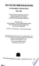 [Deutsche Bibliographie / D / 2 ] ; Deutsche Bibliographie. D, Fünfjahres-Verzeichnis : Bücher u. Karten ; Bibliographie aller in Deutschland erschienenen Veröffentlichungen u. d. in Österreich u. d. Schweiz im Buchhandel erschienenen deutschsprach. Publikationen sowie d. deutschsprach. Veröffentlichungen anderer Länder / unter Mitw. d. Österreichischen Nationalbibliothek in Wien für d. österr. u. d. Schweizerischen Landesbibliothek in Bern für d. schweizer. Titel bearb. von d. Deutschen Bibliothek, Frankfu