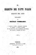 Pdf Il Segreto dei fatti palesi seguiti nel 1859. Indagini, etc