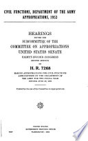 Civil Functions  Department of the Army Appropriations  1953
