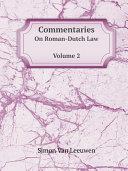 Pdf Commentaries On Roman-Dutch Law Telecharger