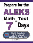 Prepare for the ALEKS Math Test in 7 Days Book